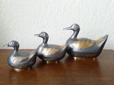 Set of three handmade tin duck jewelry boxes with copper details