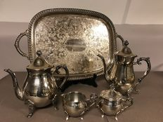 Tea and Coffee set with serving tray - Leonard - Italy - 20th century