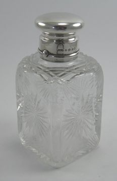 Antique Victorian silver & cut glass cologne aftershave bottle, John Grinsell & Sons, Birmingham 1883