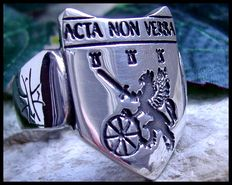 AJS Collection - Acta Non Verba: Deeds not Words Fighting Dragon Sterling Silver Ring