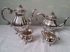 Coffee and tea set, silver plated, England, second half 20th century