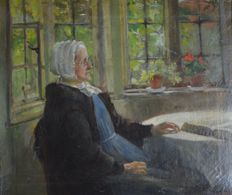 Attrib. Albert Chevallier Tayler (1862-1925) - Old woman in a cottage interior.