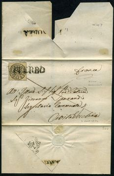 Papal States - 1854 - Letter from Bagnorea with 4 baj cancelled in Viterbo and stamped at destination - Sasson n.  5