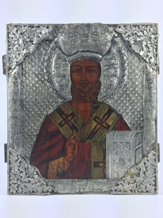 Curious orthodox icon hand-embossed on lead on walnut wood- France -20th Century