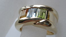 Gold ring 585 citrin, blue topaz, peridot