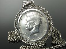 'John F. Kennedy' silver coin, necklace, collier, handmade