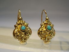 Victorian gold earrings with turquoise