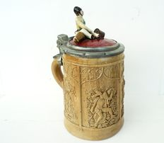 Antique Porcelain clay fireman lid stein, Relief Stein - 19th century Stein, Clay Pottery