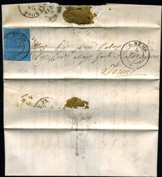 Kingdom of Sardinia, 1854 – Small letter to Turin with: Blue 20 cent stamp: Sassone #5.