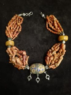 old  silver and coral beads - Berber, North Africa