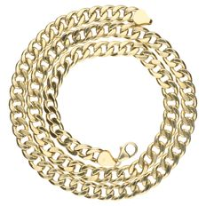 Yellow gold large curb link necklace