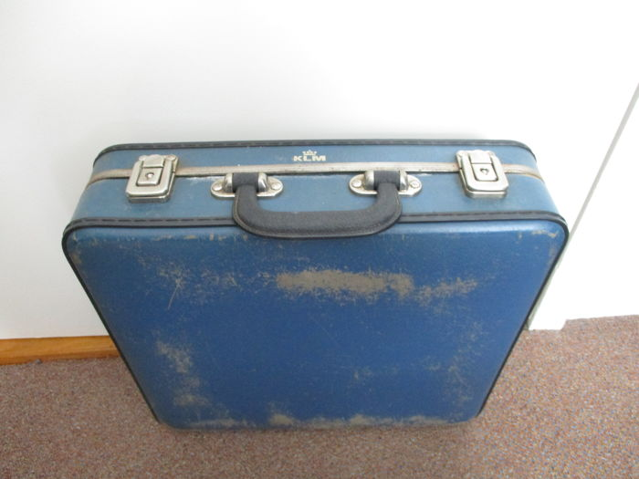 Vintage KLM flight attendants' briefcase in the colour blue