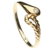 Yellow gold ring set with 1 brilliant cut diamond of approx. 0.025 ct