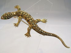 Salamander brooch with marcasites