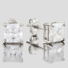 14KT white gold stud earring set with created moissanites