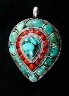 Men's silver pendant set with turquoises and coral - 925 silver