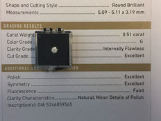 0.51 ct brilliant cut diamond, colour G and IF clarity, including GIA certificate