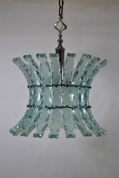 Unkown designer – zero four, hammered glass chandelier with 5 lights