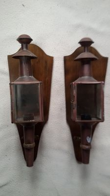 Vintage set of copper train lamps