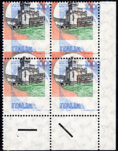 "Italy, 1980 - ""Castelli"" (Castles) - 1000 Lire - With heavily displaced colour print."