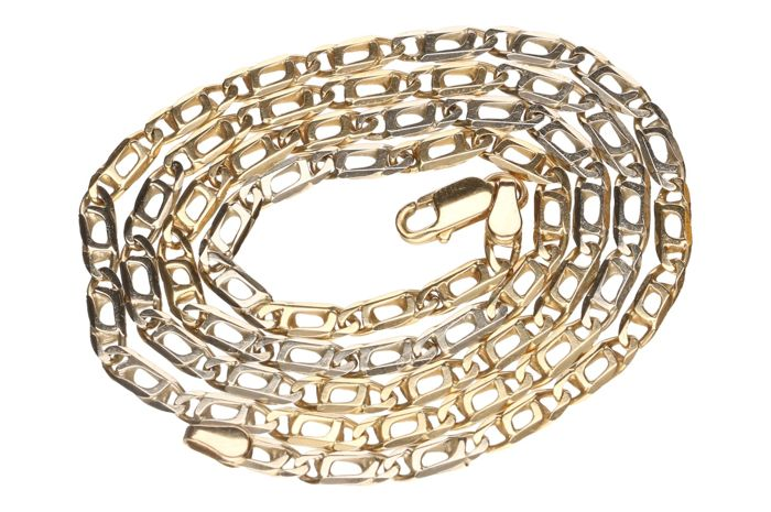 Bicolour gold curb link necklace in 14 kt - 51 cm