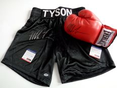 Everlast boxing glove and shorts signed by Mike Tyson - COA PSA/DNA.