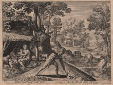 Maarten de Vos (1532-1603) by Jan Sadeler I (1550-1600) : Adam and eve after the expulsion from paradise  - First state before the number - 1583