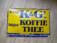 Enamel advertising sign for K&G packs of coffee tea - ca 1940s