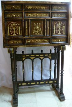 Hand made cabinet - wood, bone inlay, pyrography - Spain - 19th century.