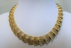 Signed D'Orlan Gold Tone Ribbed Link Collar Necklace