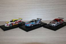 Ebbro - Scale 1/43 - Lot with 2x Porsche: Carrera cup Japan 2006 #60, 911 GT3 RSR 2005 Le Mans #80 and 911 GT3 RSR 2005 Le Mans #90
