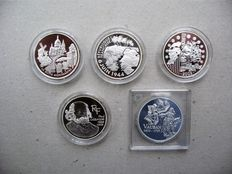 France - 1½ Euro 2002, 2004, 2005, 2006 and 2007 - Silver