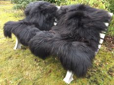 Lot with 2 large - real - premium - black longhair Icelandic sheepskins / lambskins - new!
