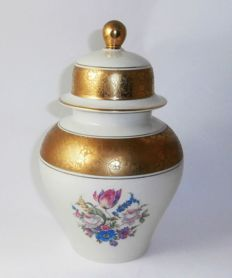 Rosenthal - vase with lid, etched gold rim.