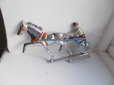 vintage trotting racing  horse early solid chrome on brass car   mascot 1940s