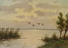 H C Hokken (1927-1988) - ducks are flying on from the reeds