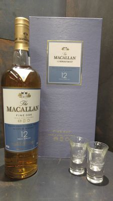Macallan 12 Year Old Fine Oak Gift Pack Limited Edition + Shot Glass x2