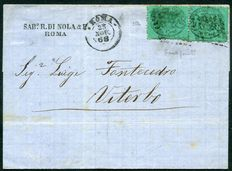 Papal States - 1868 - 3rd issue c.  5 greenish-blue on letter to Viterbo - Sassone n.  25b