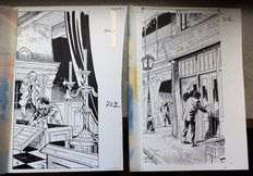"Denayer, Chistian - set of 2 original drawings + colour layers, published in the ""Journal de Spirou"" - (1970s)"