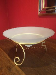 Designer unknown – decorative shaped matte glass dish on a gold plated (gold leaf) chassis.