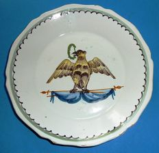 Faïence de Nevers 19th century, plate decorated with eagle on flags