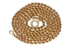 Yellow gold rope link necklace in 14 kt.