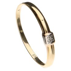 Yellow gold ring set with 1 brilliant cut diamond of 0.01 ct.