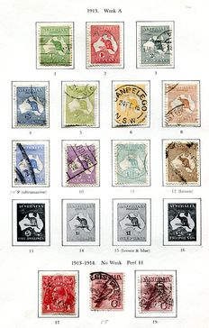 Australia 1913/1965 - collection on 25 SG printed leaves including high values.