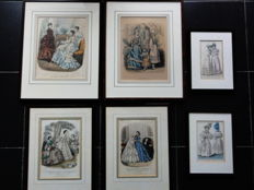 Framed French steel engravings of fashion