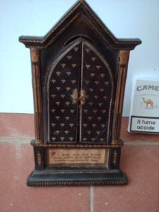 Wooden shrine covered in leather with the image of the Madonna della Seggiola, Italy, early 1900