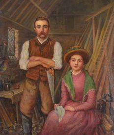 W Dawkins (19th century) - A portrait of a carpenter and his wife in his workshop