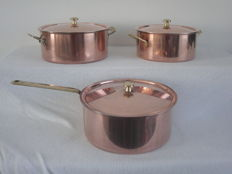 Top brand - Culinox - spring - 3 red copper pans with lid
