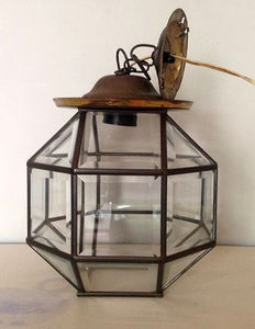Elegant facet cut octagonal hallway lamp with brass frame, The Netherlands, mid 20th century