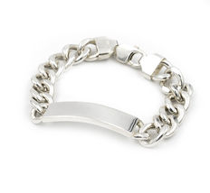 Heavy silver bracelet made of links with lobster clasp